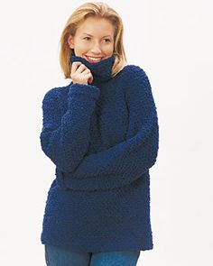 With a turtle-neck and long body, this soft and comfy Easy Pullover Sweater from Bernat Yarns is a great way to warm up during the winter.