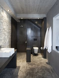 modern touches in stoney walls... Bathroom Villa Kalos Ithica Greece | © Robbert Koene | Est Magazine