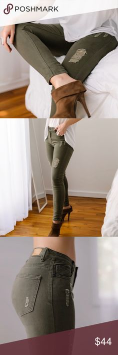 "Bethune Olive Denim ◽️Loving these jeans! This fatigue olive is the perfect shade Distressed wash. 98% cotton 2% spandex, stretchy, soft, true denim, completely nonsheer, fabric has a nice weight to it. Well made + premium quality. Wearing with my Paris Top. Price firm.   ▫️9"" rise, 27"" inseam, taken from the 5 ▫️I'm wearing the 3, fits me true to size Waist across: Size 1: 12"" Size 3: 12.5"" Size 5: 13"" Size 7: 13.5"" Size 9: 14"" Size 11: 14.5"" Size 13: 15"" 11thstreet Jeans Skinny"