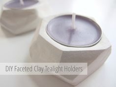 DIY Faceted Clay Tealight Holders made from air drying clay - Gathering Beauty
