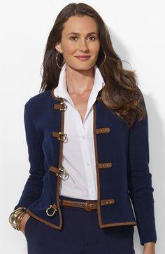 Lauren Ralph Lauren Buckle Front Cardigan (Petite) available at #Nordstrom
