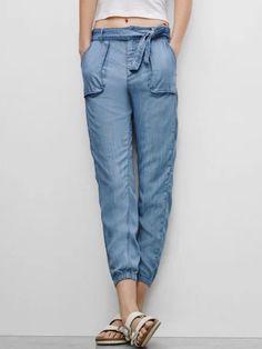 Blue Pocket Detail Bow Tie Loose Denim Pants