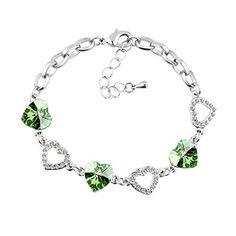 Le Premium® Kleeblatt Kristall Charme Armbänder herzförmigen Swarovski Peridot Grün kristalle - http://schmuckhaus.online/le-premium/le-premium-kleeblatt-kristall-charme-armbaender-2
