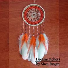 Mint Dreamcatcher PRE-ORDER Gift idea Gift for mom to be Birthday Gift for cat owner Orange Wedding Wall hanging Dream catcher Gift for her Wine Bottle Trees, Old Wine Bottles, Recycled Wine Bottles, Wine Bottle Crafts, Clay Pot Crafts, Shell Crafts, Wedding Wall, Dream Catcher Boho, Orange Wedding