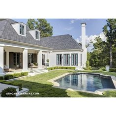 home exteriors - melissa haynes mhdesign pool courtyard stucco white... ❤ liked on Polyvore