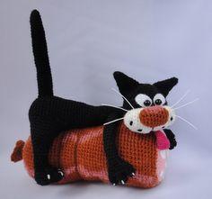 Patrón gratis amigurumi de gato con hambre Espero que os guste tanto como a mi! Idioma: Ruso Visto en la red y colgado en mi pagina: