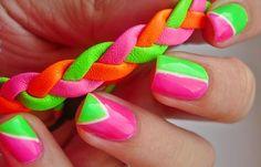 Diseños de uñas en colores, diseño de unas de colores fluorescentes.   #uñasbonitas #nails #uñasdeboda