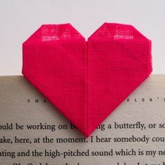 Origami Heart Raspberry Pink Cotton Bookmark & Gift Card FREE UK SHIPPING