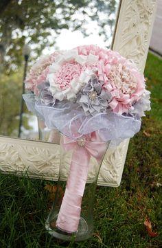 Fabric Flower Bouquet Custom Bridal Bouquet by fancyschmancybyjeni, $289.00