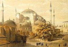 Hagia Sophia, Istanbul, Isadore of Miletus, architect. In viewing Istanbul's ancient Hagia Sophia through an artist's eye, the. Cathedral Architecture, Byzantine Architecture, Islamic Architecture, Contemporary Architecture, Greek Castle, Hagia Sophia Istanbul, Watercolor Architecture, Oriental, Fantasy Castle