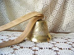 Vintage Brass Bell Eagle Bell Leather Strap by cynthiasattic, $69.00