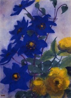 Blue Aquilegia and yellow roses From Emil Nolde