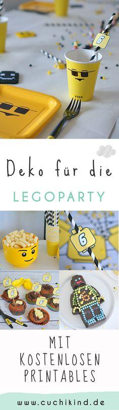 Dekoration für die Legoparty mit kostenlosen Vorlagen zum Runterladen und Ausdrucken. Partydekorationsvorschläge, Essensideen und Unterhaltung (Spiel, Schnitzeljagd, Basteln, Kino). Alles für den perfekten Kindergeburtstag zum Thema Lego. #lego #legoparty #kindergeburtstag #geburtstagsparty #freebies
