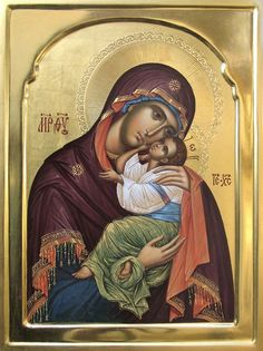 Icon of the Virgin of Tenderness/Sweet Kissing. Religious Images, Religious Icons, Religious Art, Byzantine Icons, Byzantine Art, Mother And Child, Mother Mary, Church Icon, Christian Artwork