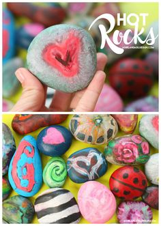 Okay–This is one our my family's FAVORITE art activity! HOT ROCKS! ANd guess what…it involves crayons…and rocks! Most have it on hand! So it's perfect for those bored days and you've got NOTHING planned! I send my kids outside with a bucket to gather up some rocks. We clean them up if they need it …