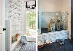 White bathroom walls, dark gray tiles, and brick-patterned indoor tubs create a modern, clean bathroom look.