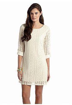Red Camel® Solid Crochet Shift Dress
