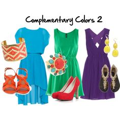 Complementary Colors:: Here there are 3 dresses showing complementary colors, colors opposite on the color wheel as the following; Blue and Orange; Green and Red; Purple and Yellow
