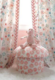 new-and-noteworthy-lulu-dk-schumacher-fabric-collection Girl Nursery, Girl Room, Girls Bedroom, Bedrooms, Child's Room, Baby Room, Pink Lemonade Punch, Custom Drapes, Nursery Inspiration