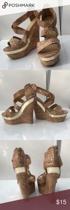 Cork and Gold wedges Cork and Gold wedges. Hollyn. US 9. Worn 2 times JustFab Shoes Wedges