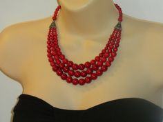 RED FIRE--statement, multi-strand, big, bold, cascade, beaded, round beads, necklace, earrings, set, chunky, handmade, gift idea. $62.95, via Etsy.