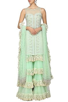 Architha Narayanam Featuring a mint green kurta in net base with embellishments. It is paired with a matching tiered sharara pants with chantilly lace detailing and organza dupatta. Mint Green Pants, Gharara Designs, New Embroidery Designs, Indian Embroidery, Kurta Style, Pernia Pop Up Shop, Sharara, Indian Ethnic Wear, Boho