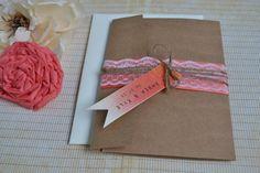 Coral Rustic Wedding invitation, Kraft Pocketfold Wedding Invitation, Vintage Wedding Invitation, Fall Wedding Invitation, Lace Wedding
