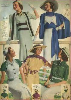 Early 30s vintage fashion style color illustration print ad dress suit hat gloves belt blue green tan brown jacket cape