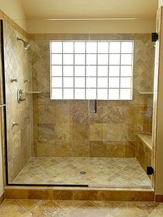 Remodel Bathroom With Window In Shower glass block window shower design, pictures, remodel, decor and