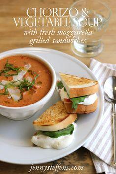 Chorizo & Vegetable Cream Soup | Fresh Mozzarella, Tomato & Basil Grilled Cheese.