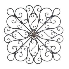 "Iron Scroll Wall Art karina+tuscan+28""+square+indoor+outdoor+wrought+iron+wall+grille+"