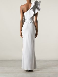 6977fa4f41fd Lanvin - Gray One Shoulder Frill Dress - Lyst