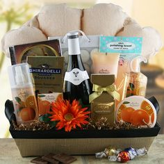 bath gift basket ideas | Bubbles Wine Gift Basket @ Design It Yourself Gift Baskets