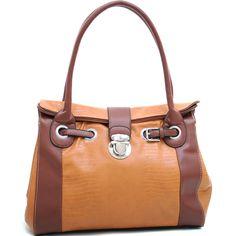 Dasein Belted Matte Croco Texture Shoulder Bag w/ Buckle Accent - Brown/Tan