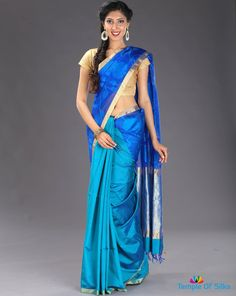Blue colour semi jute silk saree