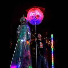 PDX Winter Light Festival: Lanterns. Spacemen. LEDs. And yes, our lantern has an umbrella :D #pdxlightfest #led #sparkleballs