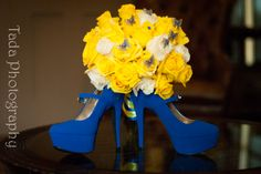 the blue and yellow with butterflies was perfectly done! #bride #weddingshoes #bluesuedeshoes #bridal #wedding