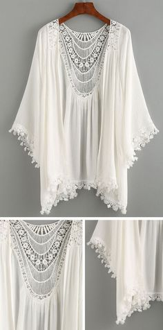 Summer Beach Style - Lace Trimmed Crochet Insert Kimono - White - Bra and Bikini Fashion Estilo Hippie, Hippie Boho, Bohemian Style, Boho Chic, Hippie Shoes, White Bohemian, Style Kimono, Look Boho, Brokat