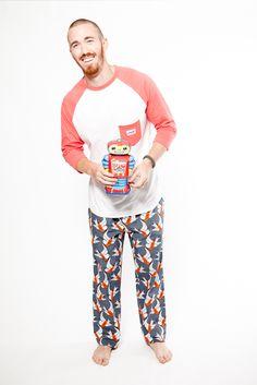 Hello Mr pyjama pants with Hey Dude raglan top in white/rose. Both 100% fairtrade organic cotton. www.thegoodnightsociety.com.au