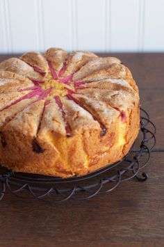 Rhubarb Custard Tea Cake - beautiful idea, but bakes up super dry and dense. must change base cake recipe! serve with rhubarb compote? Rhubarb Desserts, Rhubarb Cake, Rhubarb And Custard, Rhubarb Recipes, Just Desserts, Delicious Desserts, Yummy Food, Rhubarb Compote, Rhubarb Pudding Cake