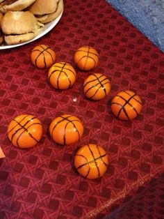 Basketball Party-- healthy snack idea, cutie oranges made to look like basketballs!