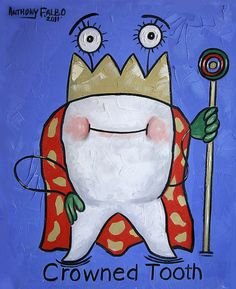 Crowned Tooth Dental Art Print poster Teeth by falboart on Etsy, $49.00