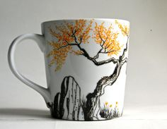 Mug  Hand painted porcelain coffee cup    Fall trees by Artisvast