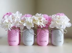 Pink and Gray Distressed Mason Jars. Baby Shower Mason Jars. Shabby and Chic. Distressed Mason Jars. Pink and Grey Pained Mason Jars
