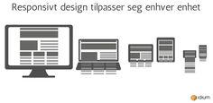Bilde av forskjellige enheter og hvordan responsivt design tilpasser elementene Company Logo, Tech Companies, Logos, Design, Pictures, Logo