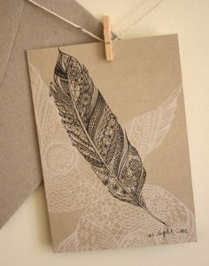 Single Card - Feather - Greeting or Birthday (blank)