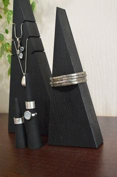 Boho black jewelry organizer, wood jewelry display, ring tree, boho bedroom decor, gift for sister - Trend Silver Jewelry 2020 Wood Jewelry Display, Necklace Display, Jewelry Stand, Jewellery Display, Driftwood Jewelry, Wooden Jewelry, Custom Jewelry, Black Jewelry, Boho Jewelry