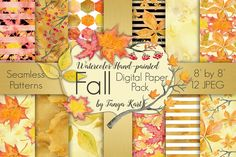 Fall Watercolor Digital Paper Pack by Tanya Kart on @creativemarket