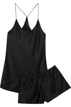 Black silk-satin Slips on 100% silk Dry clean As seen in THE EDIT magazine