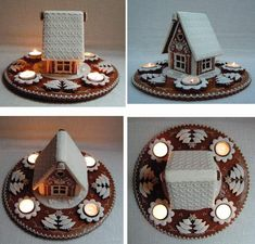 Gingerbread House with tealights. Christmas Cupcakes, Christmas Sweets, Christmas Baking, Christmas Cookies, Christmas Time, Christmas Crafts, Christmas Decorations, Gingerbread Village, Christmas Gingerbread House
